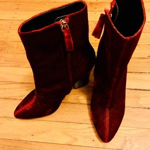 Pointed red velvet booties